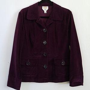 Talbots Purple Stretch Velvet Blazer Jacket sz10